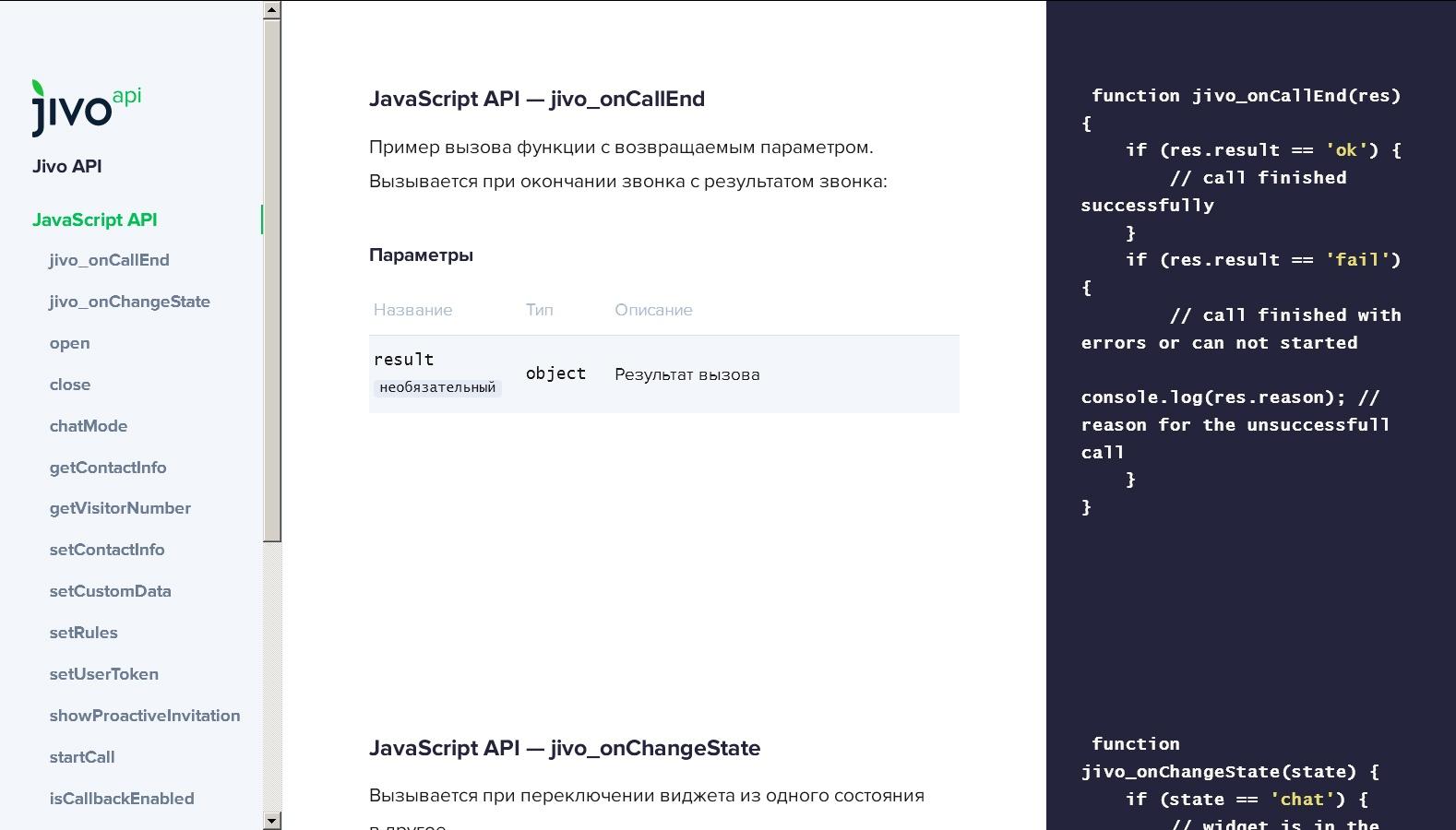JivoSite API